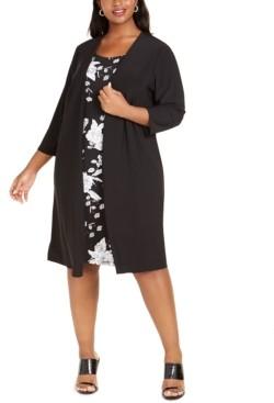 MSK Plus Size Jacket & Floral-Print A-Line Dress