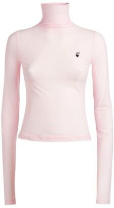 Off-White Sheer Logo Rollneck Sweater