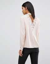 Vila Open Back Top With Lace Detail