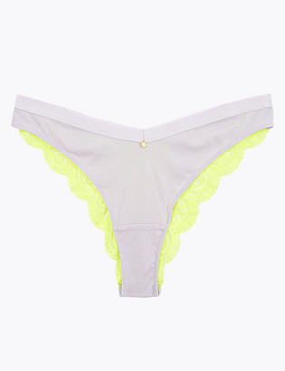 Marks and Spencer Cotton Lace Trim Ribbed Miami Knickers