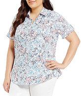 Allison Daley Plus Button Front Spot Tile Print Short Sleeve Shirt