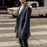 DSTLD Mens Long Wool Coat in Grey