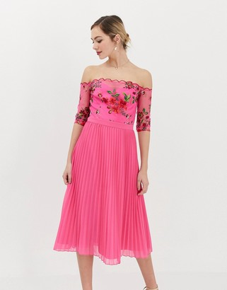 Chi Chi London lace embroidered top midi dress with pleated chiffon skirt in fuchsia-Pink