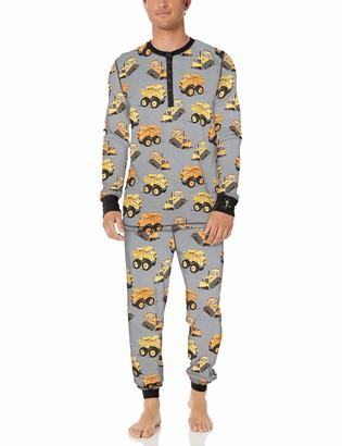 Munki Munki Men's Long Sleeve Henley and Jogger Pajama Set