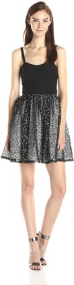 Aidan Mattox Aidan Women's Cut-Out Stretch Top Dress with Lace Party Skirt