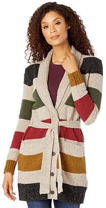 Pendleton Glacier Park Cardigan (Tan Stripe) Women's Sweater