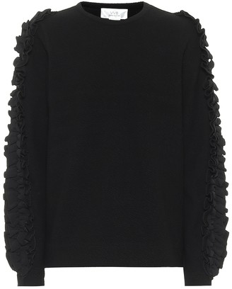 Victoria Victoria Beckham Ruffle-trim stretch-cotton sweater