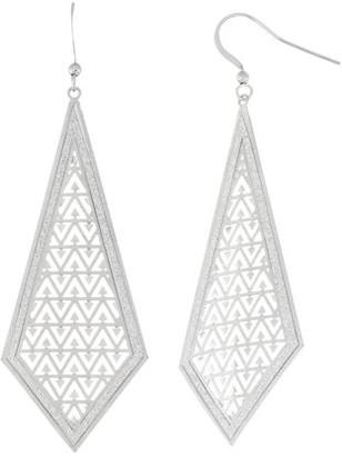 Xo X & O Silver Plated Stamped Triangle Pattern Glitter Diamond Dangle Earring