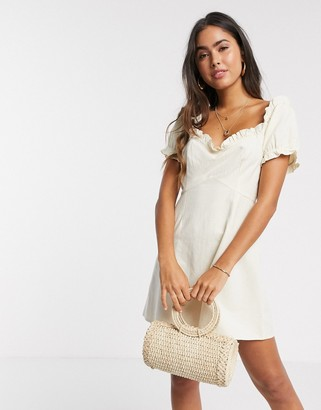 Vero Moda milkmaid mini dress in beige