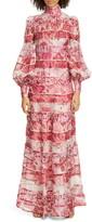 Zimmermann Wavelength Long Sleeve Linen & Silk Maxi Dress