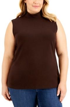 Karen Scott Plus Size Sleeveless Mock-Neck Top, Created for Macy's