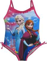 Disney Little Girls Blue Anna Elsa Frozen Print One Piece Swimsuit