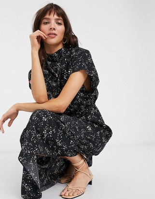 And other stories & sprinkle print short sleeve midi dress in black