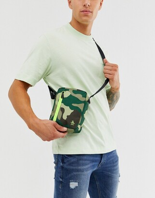 Original Penguin flight bag in camo-Green