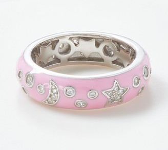 Diamonique Enamel Stars and Moon Pink Band Ring Sterling Silver