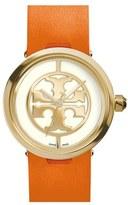 Tory Burch Women's 'Reva' Logo Dial Leather Strap Watch, 28Mm