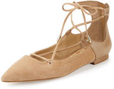Sam Edelman Rosie Pointed-Toe Lace-Up Flat, Golden Caramel