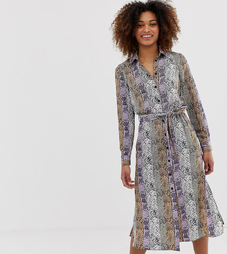 Miss Selfridge snake midi shirt dress in lilac-Purple