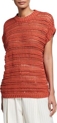 Brunello Cucinelli Textured Cotton Cap-Sleeve Sweater