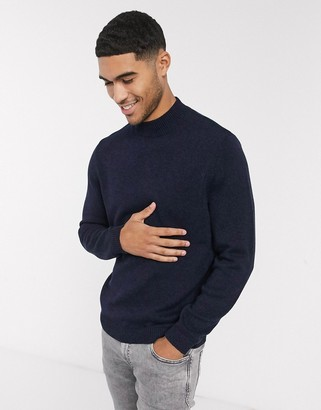 Asos DESIGN midweight cotton turtleneck sweater in navy