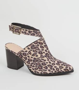 New Look Wide Fit Leopard Print Block Heels