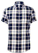 Burton Mens Tall Indigo Short Sleeve Check Shirt