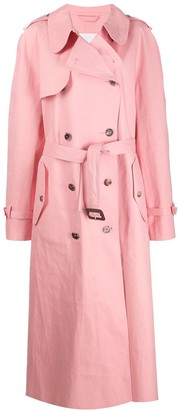 MACKINTOSH MAISON MARGIELA Pink Bonded Cotton Oversized Trench Coat