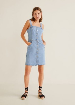 MANGO Medium denim pinafore dress medium blue - 4 - Women