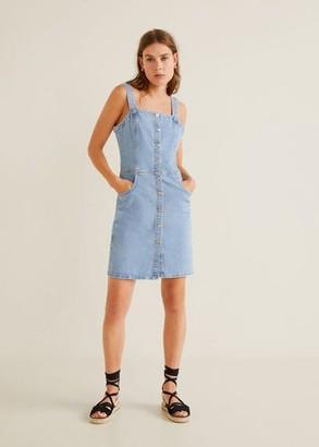 MANGO Medium denim pinafore dress