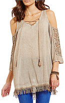 Democracy Lace-Up Front Minearl Washed Cold-Shoulder Tunic