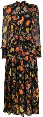 Alexis ruffled trim floral print dress