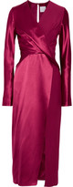 Dion Lee Wrap-effect Silk-satin And Crepe De Chine Midi Dress - Red