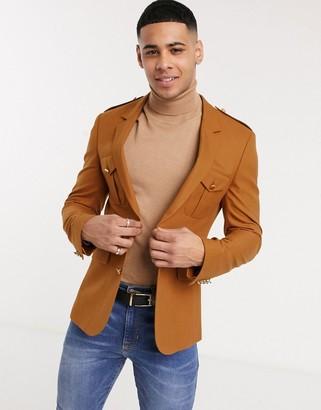 ASOS DESIGN skinny blazer with pocket details in rust