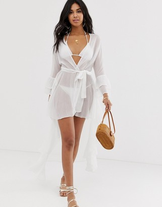 Asos Design DESIGN glam ruffle front beach kimono in white with frill sleeve
