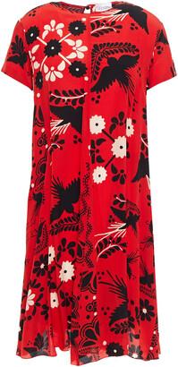 RED Valentino Printed Silk Crepe De Chine Mini Dress