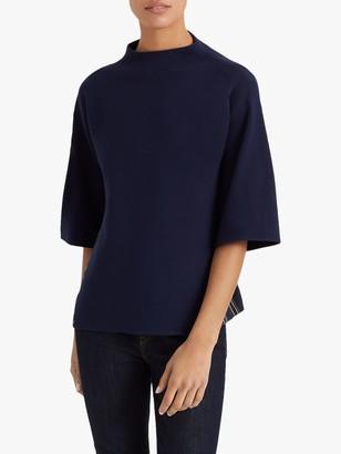 Club Monaco Woven Back Sweatshirt, Navy