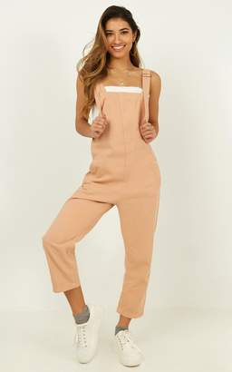 Showpo Very First Time overalls in peach - 8 (S) Sale Jumpsuits