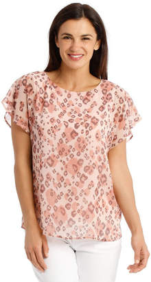 Regatta Sheer Dropped S/S Cuffed Woven Top With Lining-Blush Animal Print