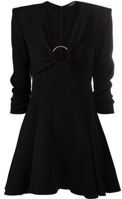 Versace O-ring flared satin dress