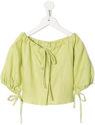Little Bambah Tie-Neck Linen Blouse