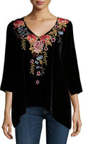 Johnny Was Amber 3/4-Sleeve Embroidered Velvet Tunic, Petite