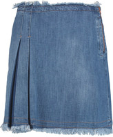 See by Chloe Frayed pleated denim mini skirt