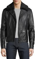 Mackage Leather Moto Jacket w/ Removable Shearling Collar