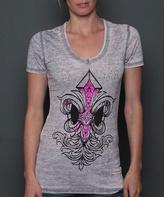 Rebel Spirit Gray & Pink Fleur-de-Lis Tee - Women