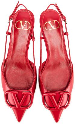 Valentino VLogo Ballerina Flats in Red | FWRD