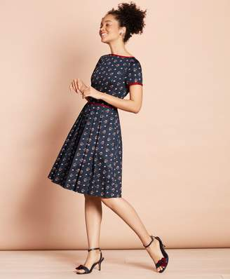 Brooks Brothers Floral-Print Cotton Sateen Pleated Dress