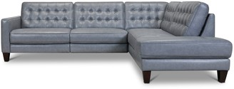 Apt2B Toranado 2pc Leather Sectional with Power Foot Rest