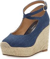 Bettye Muller Crowne Linen Espadrille Wedge Sandal, Blue