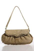 Treesje Beige Leather Ruffle Trim Round Structured Small Clutch Wristlet Bag