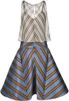 Fendi contrast striped flared dress